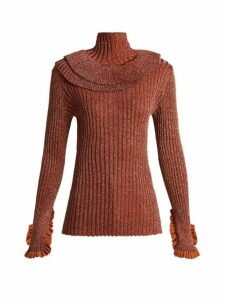 Chloé - Metallic Ruffle-trimmed Sweater - Womens - Red
