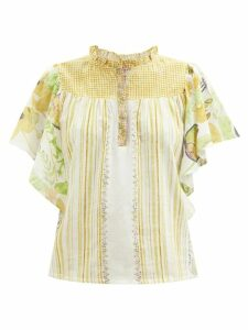 Koché - Contrast Panel Stretch-jersey Long-sleeved Top - Womens - Beige Multi