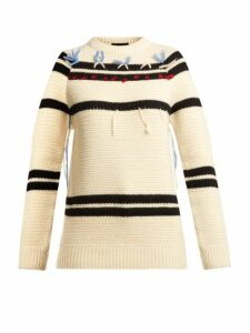 Calvin Klein - Loose-thread Striped Wool Sweater - Womens - Cream