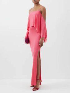 Raquel Diniz - Aurora Silk-velvet Wrap Dress - Womens - Light Pink