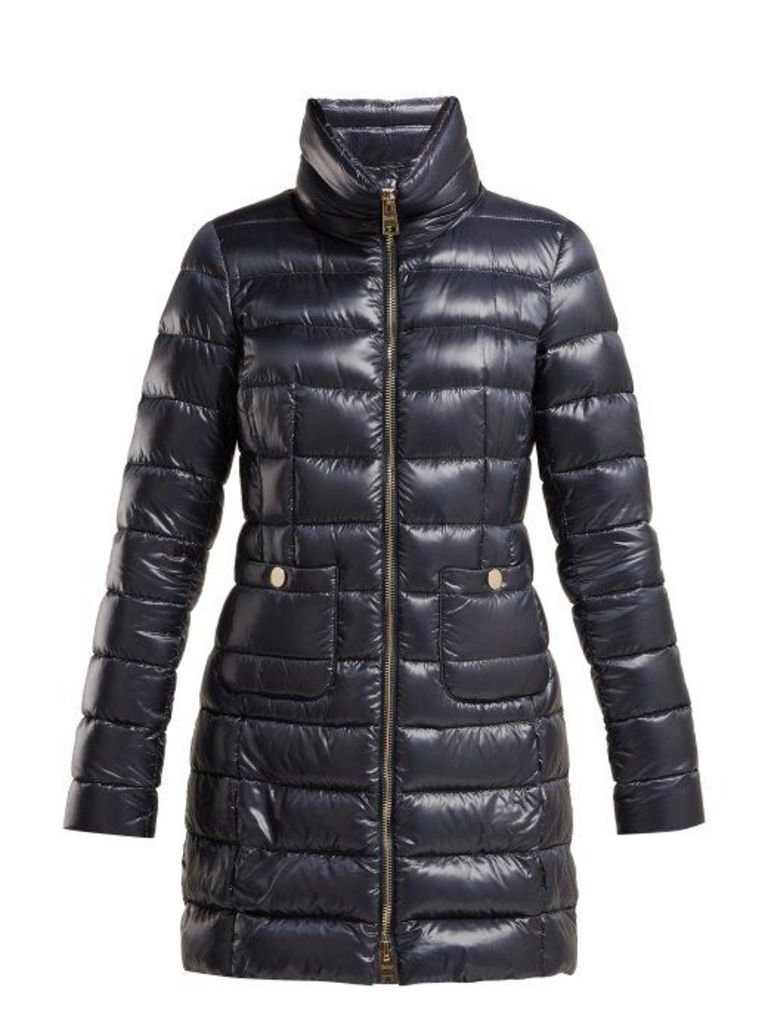 Herno - Quilted Nylon Down Filled Jacket - Womens - Dark Blue