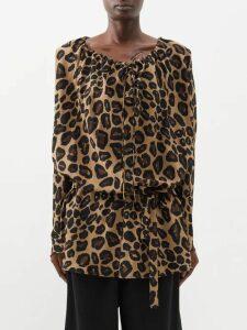 Rebecca De Ravenel - Cheeta-print Silk-satin Gown - Womens - Blue Print