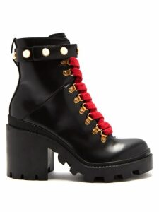 Gucci - Lace-up Leather Ankle Boots - Womens - Black