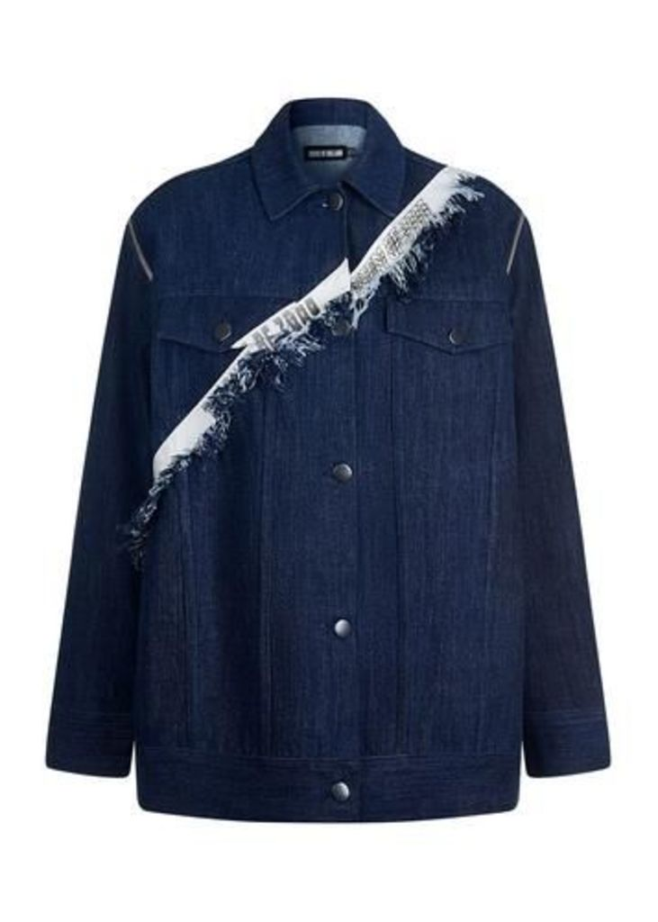 Taped Oversized Denim Jacket