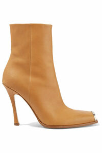 CALVIN KLEIN 205W39NYC - Wilamiona Metal-trimmed Leather Ankle Boots - Tan