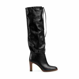 Leather mid-heel boot