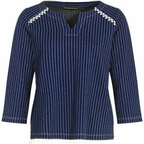 Mado Et Les Autres  Striped milano straight V-neck T-shirt  women's Blouse in Blue