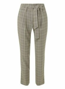 Womens Multi Coloured Checked Tie Tapered Trousers- Grey, Grey