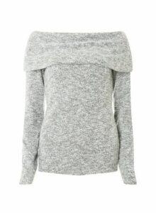 Womens **Tall Grey Burshed Bardot Top, Grey