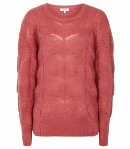 Reiss Dinah - Mohair Blend Patterned Jumper in Pink, Womens, Size XXL