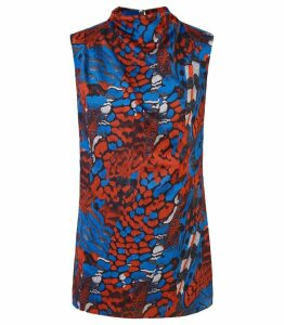 Reiss Clarisse - Printed High Neck Top in Multi, Womens, Size 14