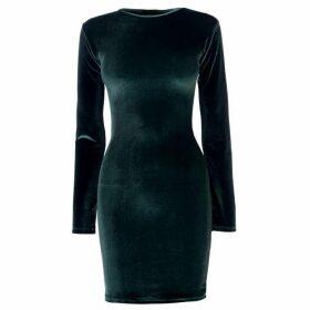 Firetrap Blackseal Velvet Dress - Dark Green