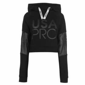 USA Pro Crop Mesh Hoodie Ladies - Black
