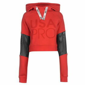 USA Pro Crop Mesh Hoodie Ladies - Red