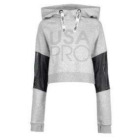 USA Pro Crop Mesh Hoodie Ladies - Grey Marl