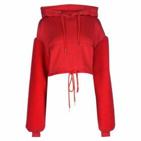 Story of Lola Crop Faux Fur Sleeve Hoodie - Red