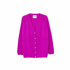 Arela Jill Cashmere Cardigan In Bright Pink