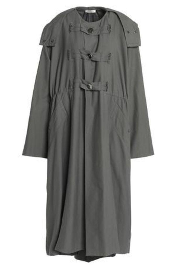 Nina Ricci Woman Gathered Cotton-canvas Hooded Jacket Anthracite Size M