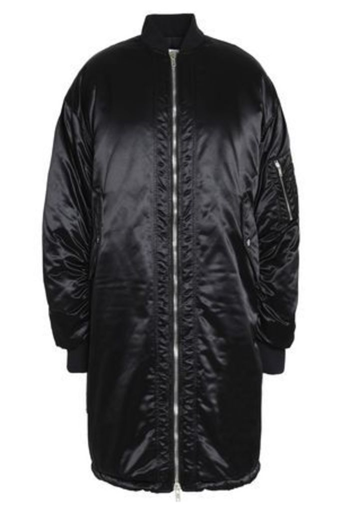Msgm Woman Oversized Satin Bomber Jacket Black Size 42