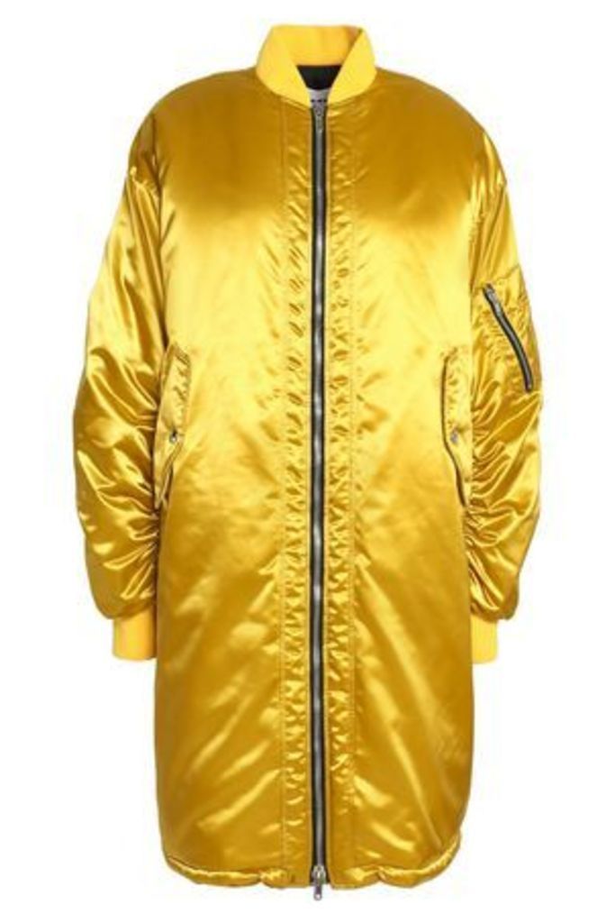Msgm Woman Oversized Satin Bomber Jacket Mustard Size 42