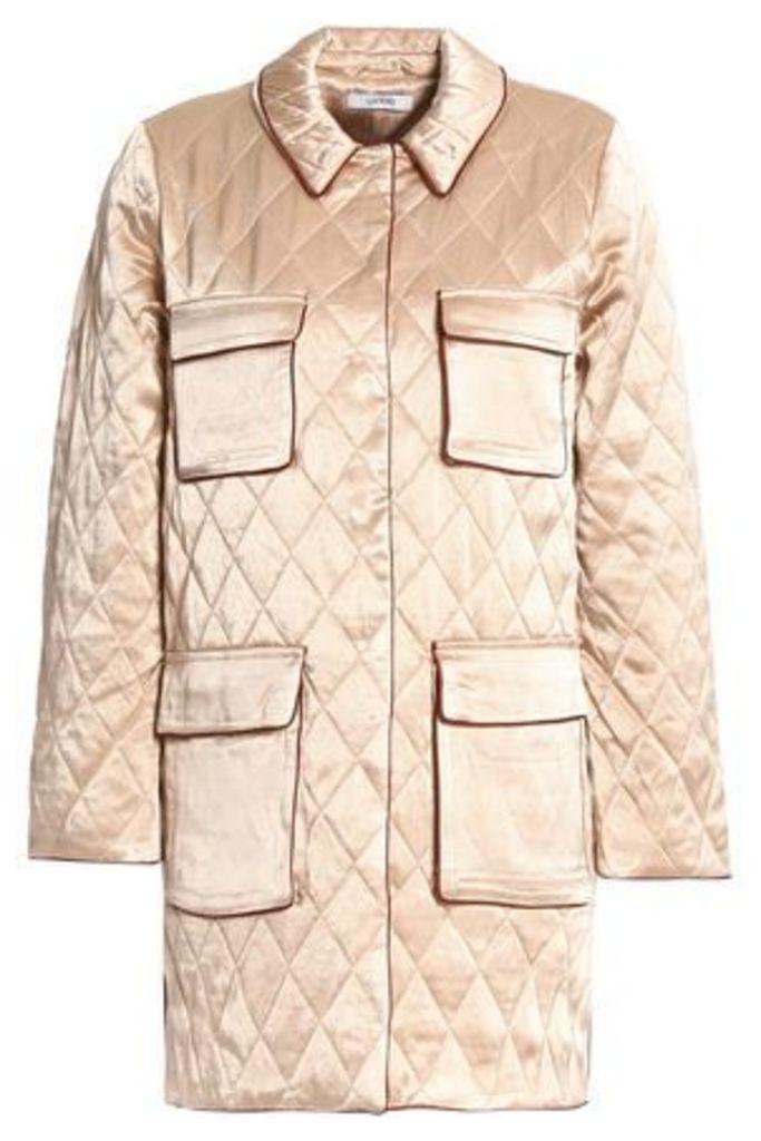 Ganni Woman Quilted Satin Jacket Beige Size 42