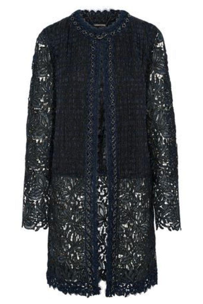 Elie Tahari Woman Jaya Chain-trimmed Jacquard-paneled Guipure Lace Jacket Navy Size L