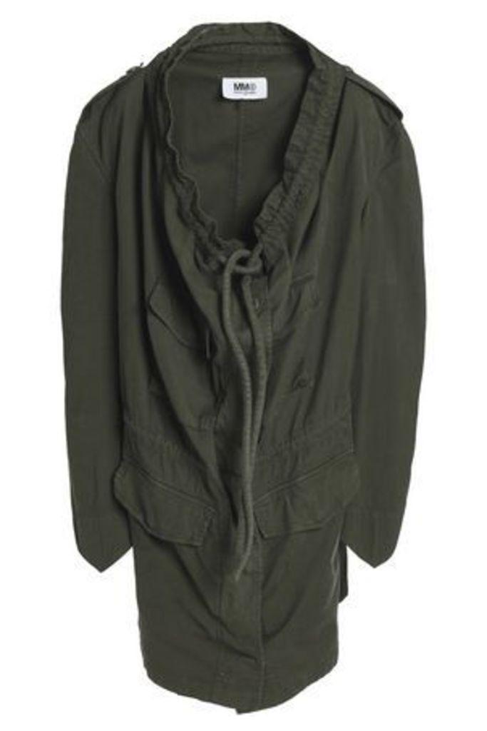 Mm6 By Maison Margiela Woman Draped Stretch-cotton Jacket Army Green Size 44