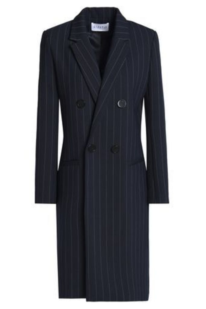 Claudie Pierlot Woman Double-breasted Striped Twill Jacket Midnight Blue Size 40