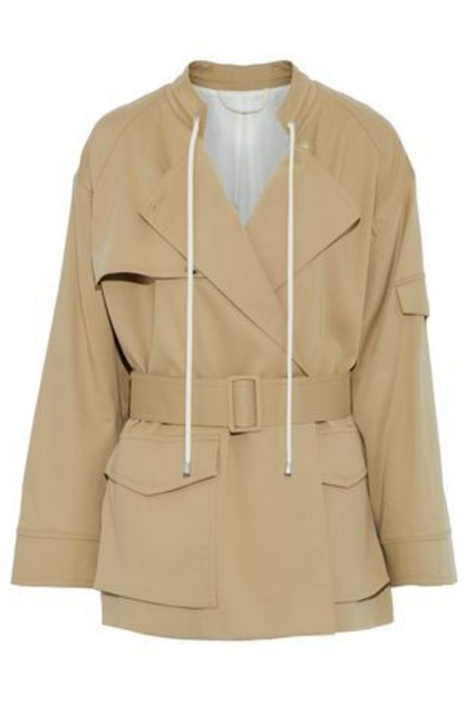 Helmut Lang Woman Belted Cotton-gabardine Jacket Tan Size S