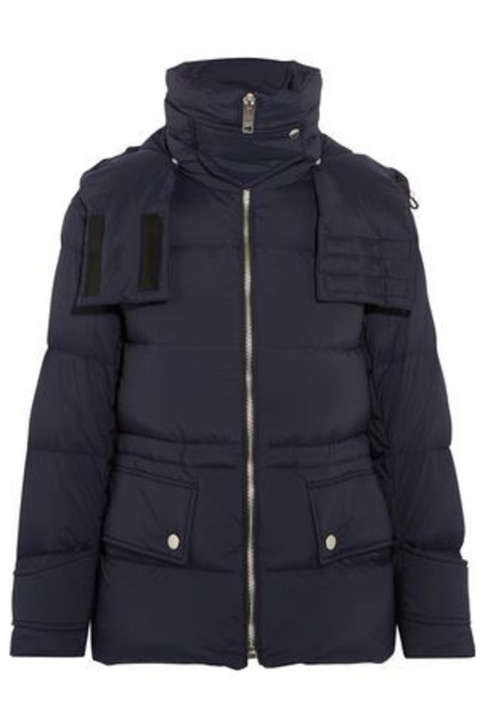 Burberry Woman Quilted Shell Hooded Down Jacket Navy Size L