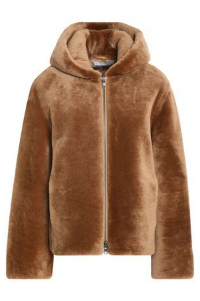 Vince. Woman Leather-trimmed Shearling Hooded Jacket Camel Size S