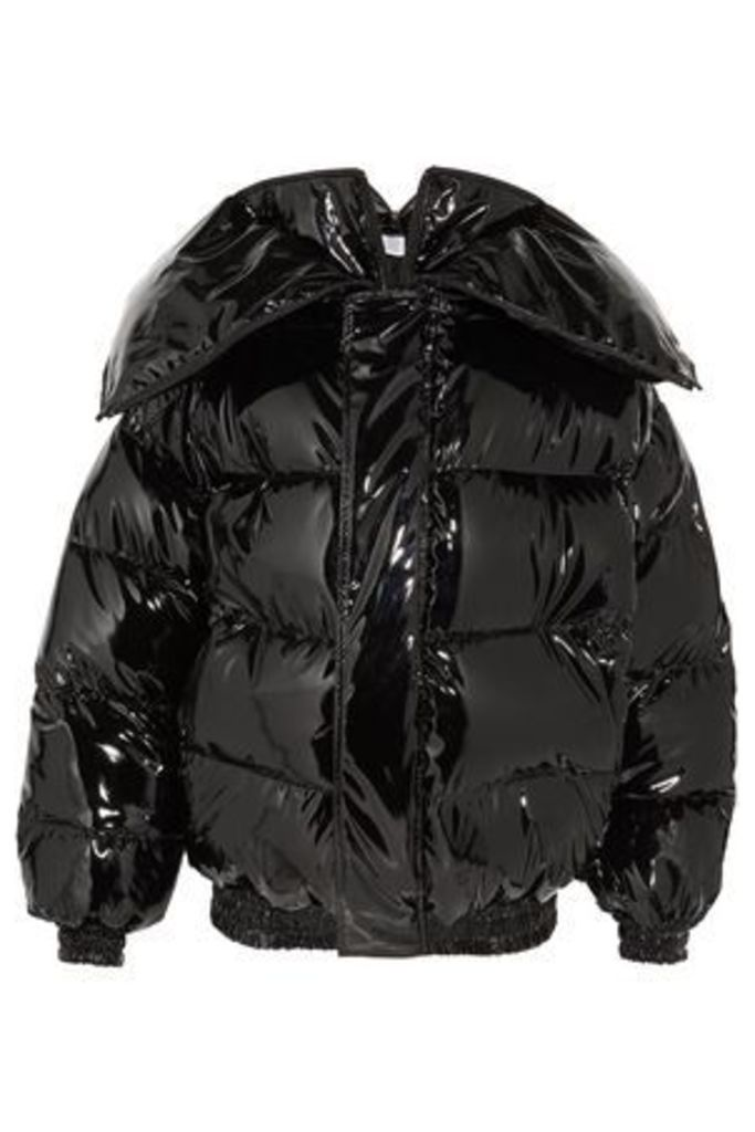 Vetements Woman Quilted Coated Down Jacket Black Size L