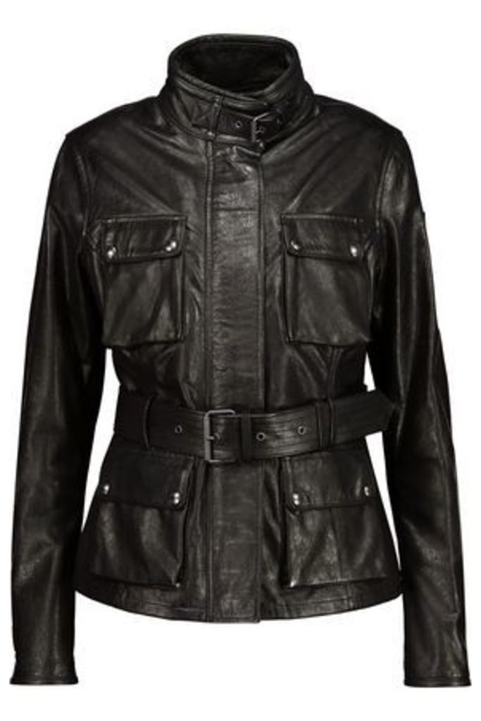 Belstaff Woman Triumph Belted Textured-leather Jacket Black Size 46