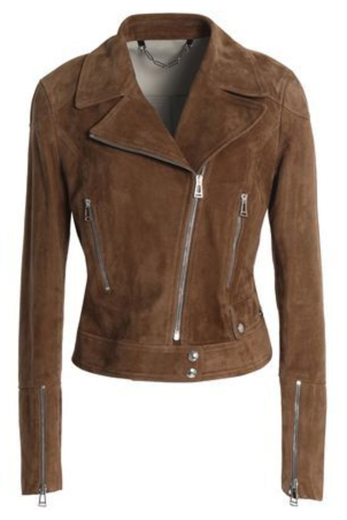 Belstaff Woman Suede Biker Jacket Light Brown Size 42