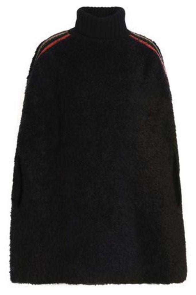 M Missoni Woman Crochet-trimmed Faux Shearling Turtleneck Poncho Black Size S