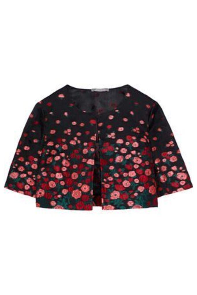 Lela Rose Woman Silk-blend Floral-jacquard Bolero Black Size 14