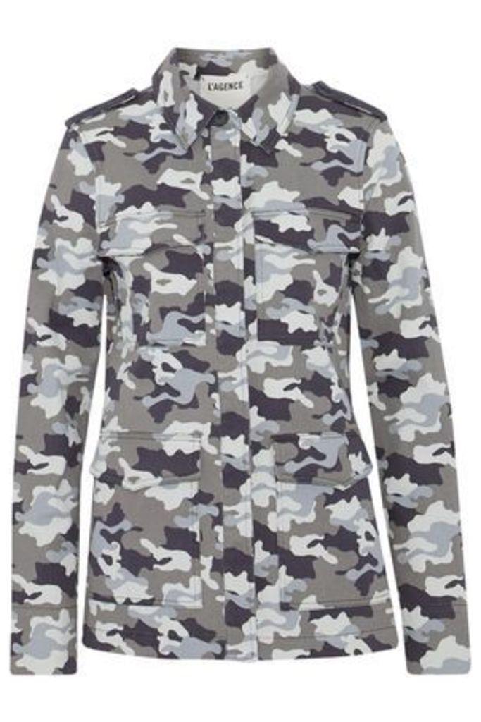 L'agence Woman Printed Denim Jacket Gray Size L