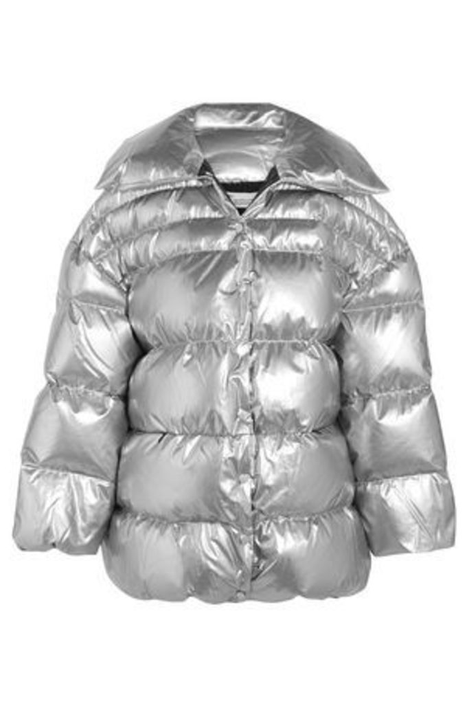 Off-white™ Woman Quilted Metallic Cotton-blend Shell Down Jacket Silver Size 46
