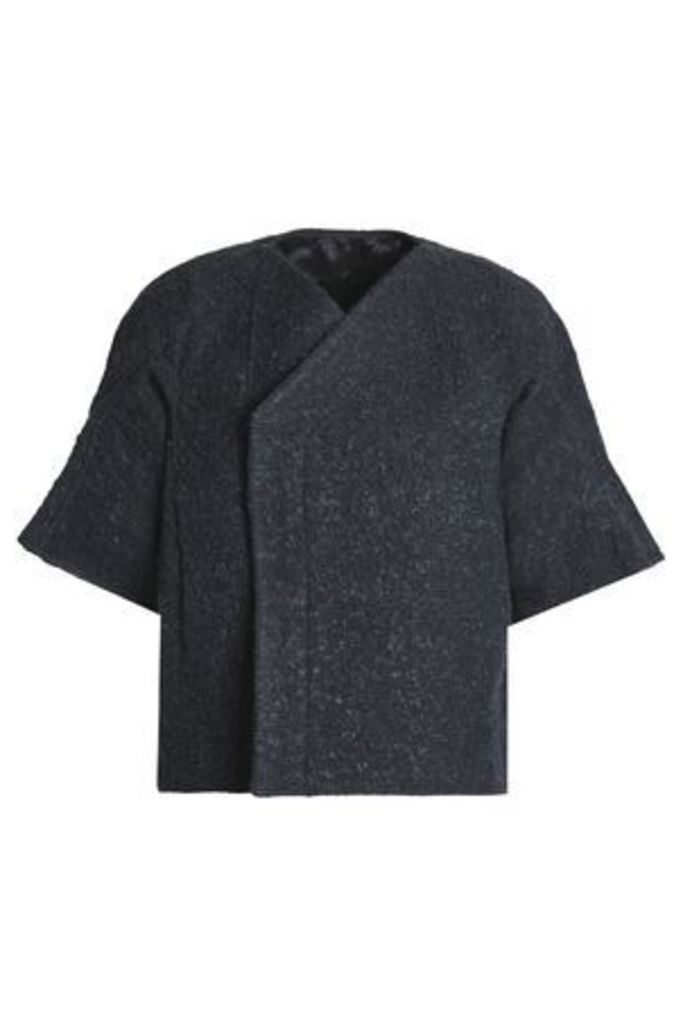 Rick Owens Woman Brushed Cotton-blend Bouclé Jacket Midnight Blue Size 40