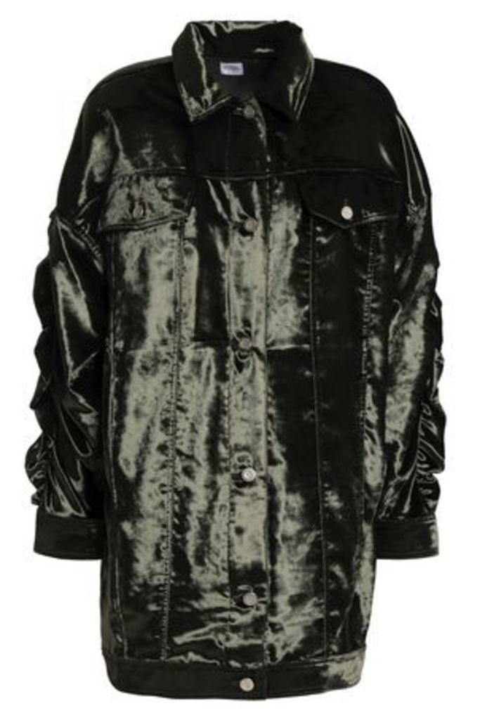 Opening Ceremony Woman Ruched Velvet Jacket Dark Green Size 2