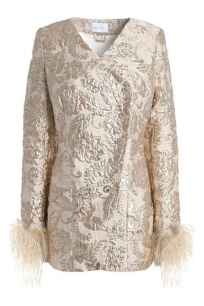 Alice Mccall Woman Bold And The Beautiful Feather-trimmed Brocade Jacket Gold Size 10