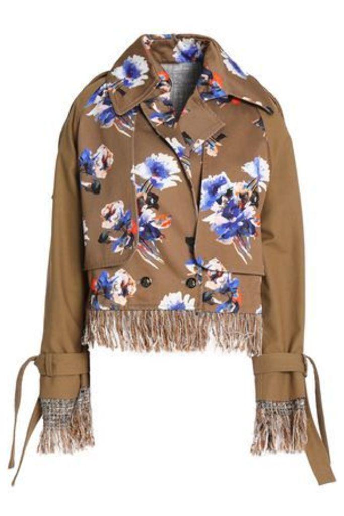Msgm Woman Frayed Tweed-trimmed Floral-print Cotton-gabardine Jacket Light Brown Size 40