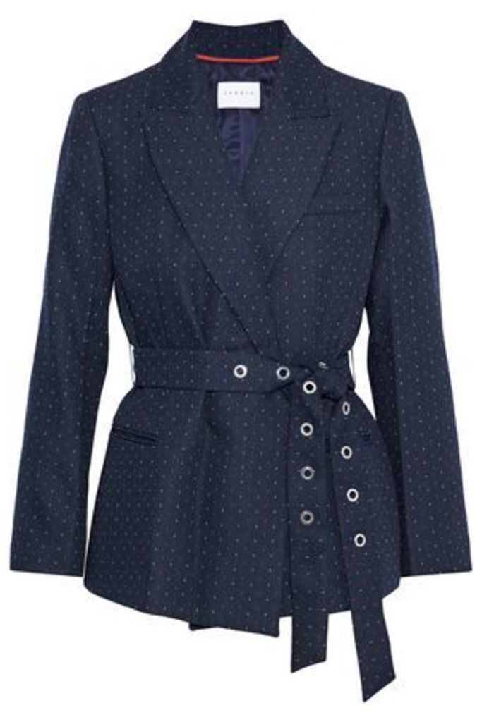 Sandro Woman Loulou Belted Embroidered Twill Jacket Navy Size 36