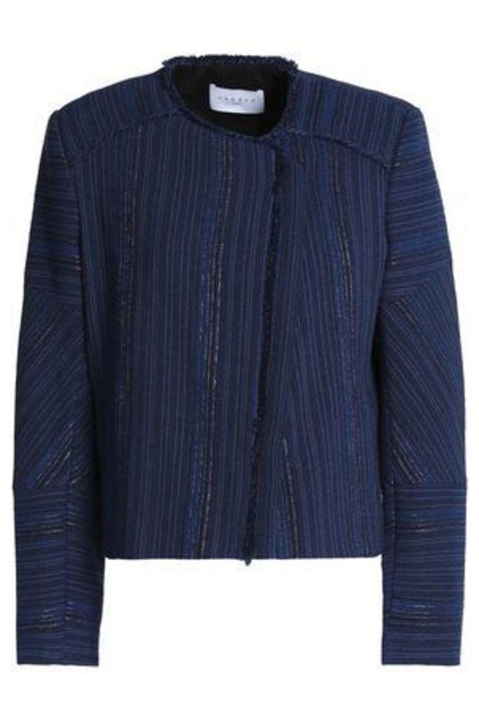 Sandro Woman Frayed Jacquard Jacket Royal Blue Size 38