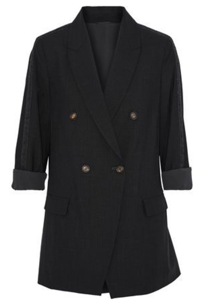 Brunello Cucinelli Woman Double-breasted Bead-embellished Wool-blend Jacket Black Size 42