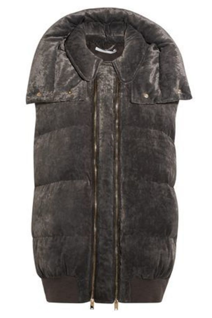 Stella Mccartney Woman Quilted Velvet Hooded Vest Anthracite Size 38