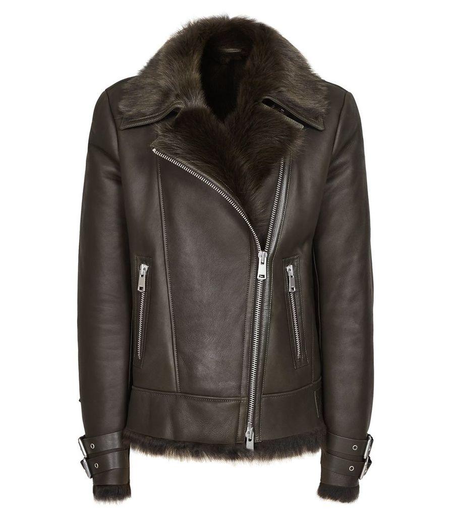 Reiss Florence - Sheepskin Jacket in Dark Olive, Womens, Size L