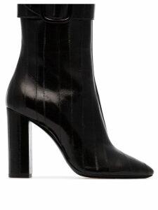 Saint Laurent black Joplin 105 buckled eel leather boots