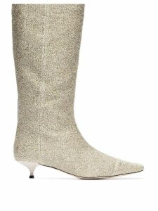 Rosie Assoulin Lurex and leather 35mm heel boots - Gold
