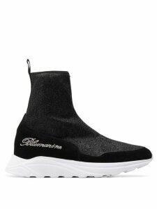 Blumarine glitter effect sock-style sneakers - Black